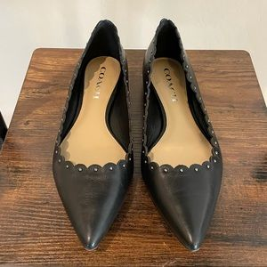 Coach Leather Scalloped Trim Pointed Toe Flats